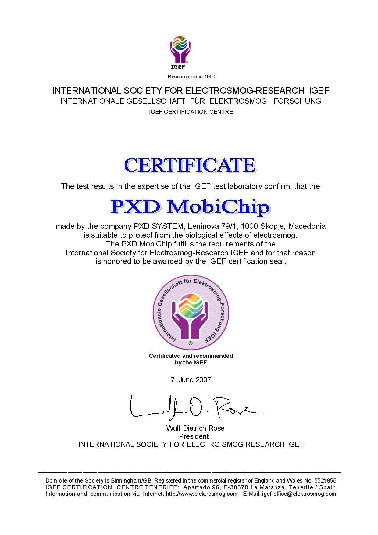Certification from IGEF test that BChip is suitable to protect from the biological effects of electrosmog