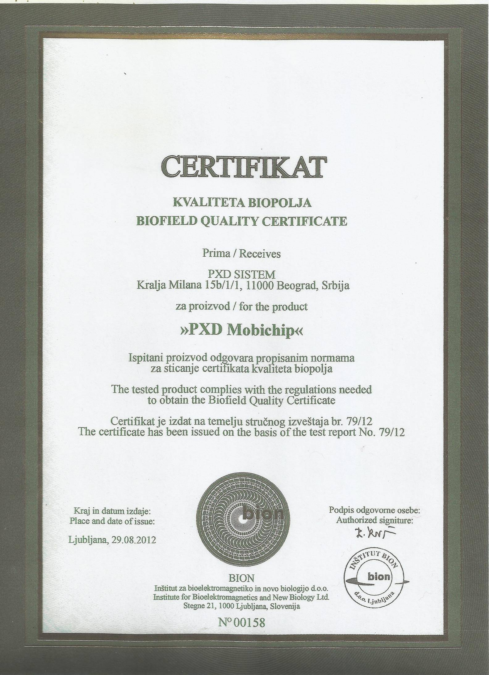 BChip quality certification from Bion Institute for Bioelektromagnetics and New Biology