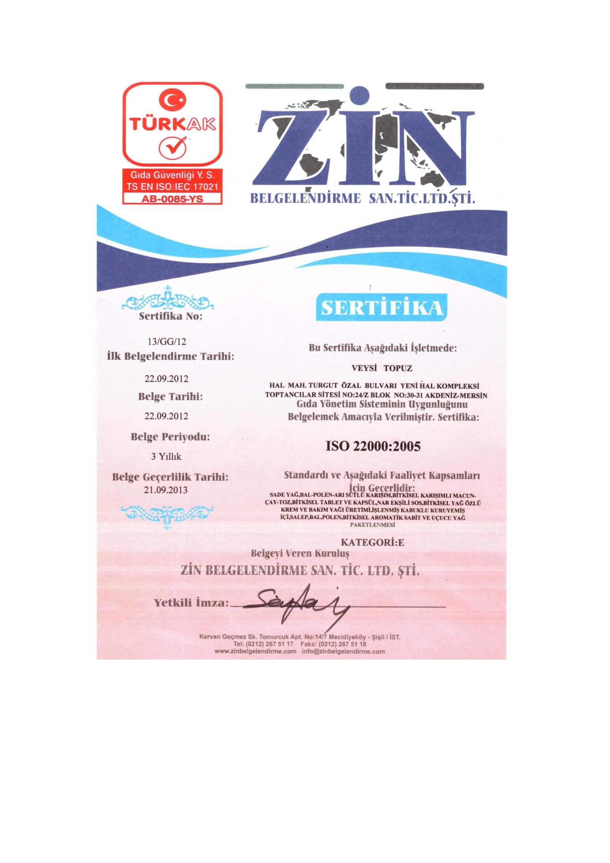 ISO 22000 med za potenciju